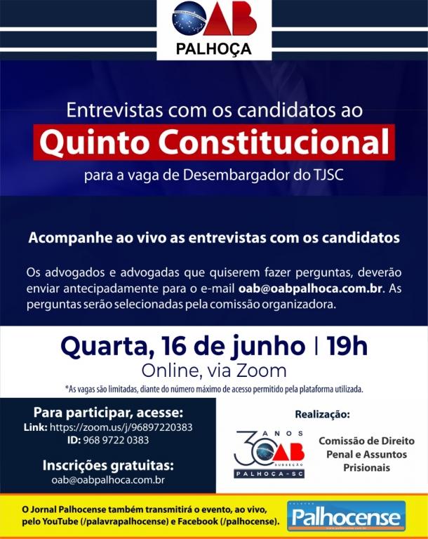 TJSC: jornal transmite entrevista com candidatos