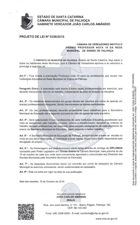 Bala quer instituir o Prêmio Professor Nota 10