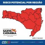 Santa Catarina volta para o vermelho