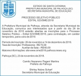 Errata: processo seletivo da Prefeitura