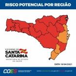 Covid: Grande Florianópolis passa para cor laranja